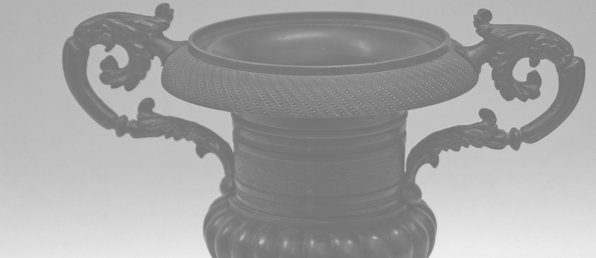 Image: Hellenic vase shaped bronze urn on square base