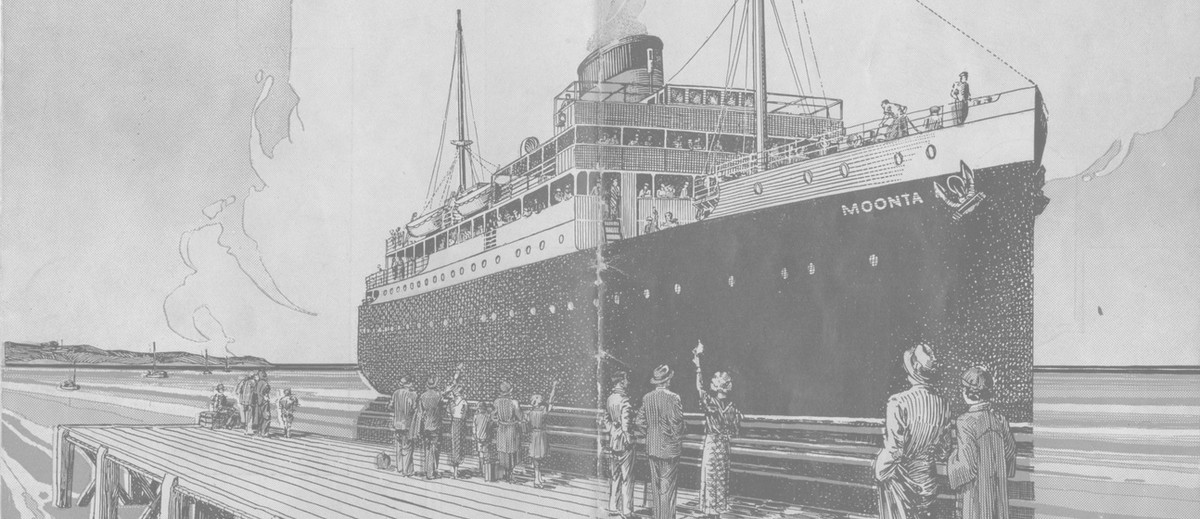 Image: printed picture of large steamship with people waving at dock