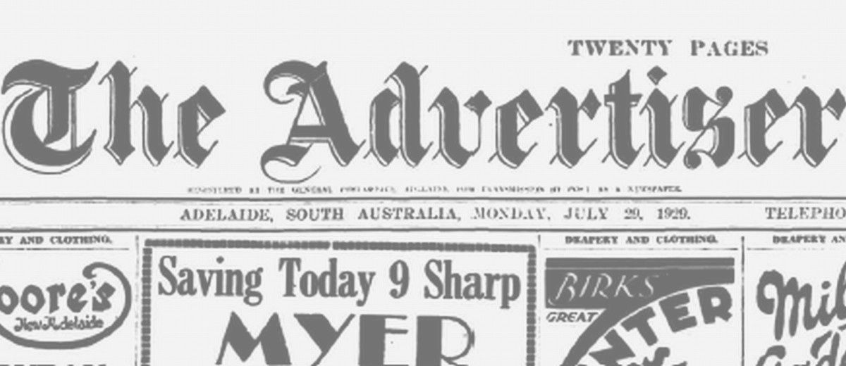Image: The front page banner of Adelaide's Advertiser newspaper, as published on Monday, 29 July 1929