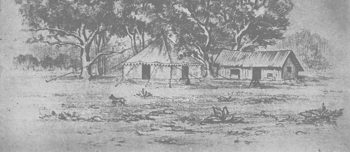 Image: black and white pencil sketch of huts and trees