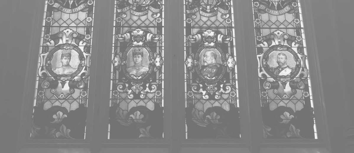 Empire window, northern wall of main hall, Brookman Building, 2013