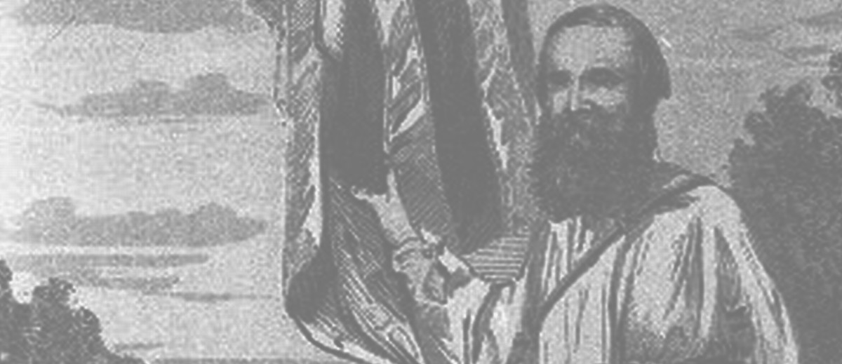 Image: Illustration of a bearded man holding onto a flag