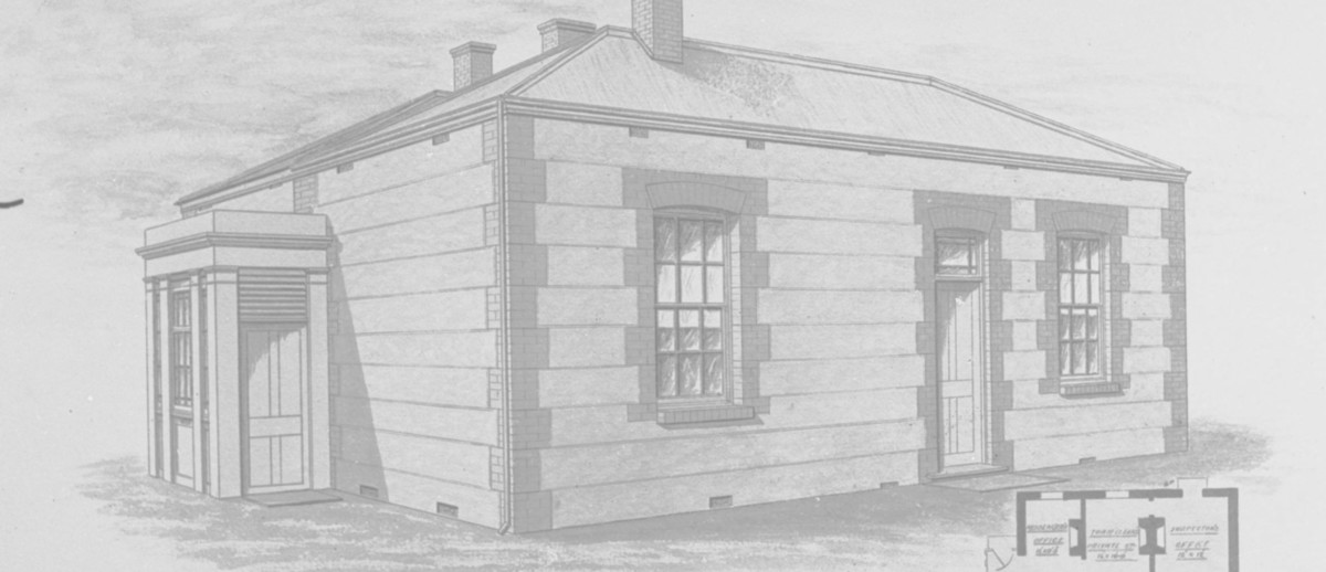 Image: An architectural illustration showing the plan and elevation of a single-storey building with brick quoining around windows and two doors