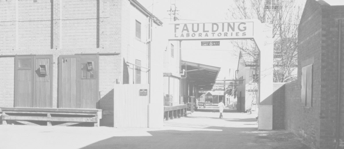 Image: A man in a white lab coat walks amongst a cluster of brick buildings. An archway in the foreground reads 'Faulding Laboratories'
