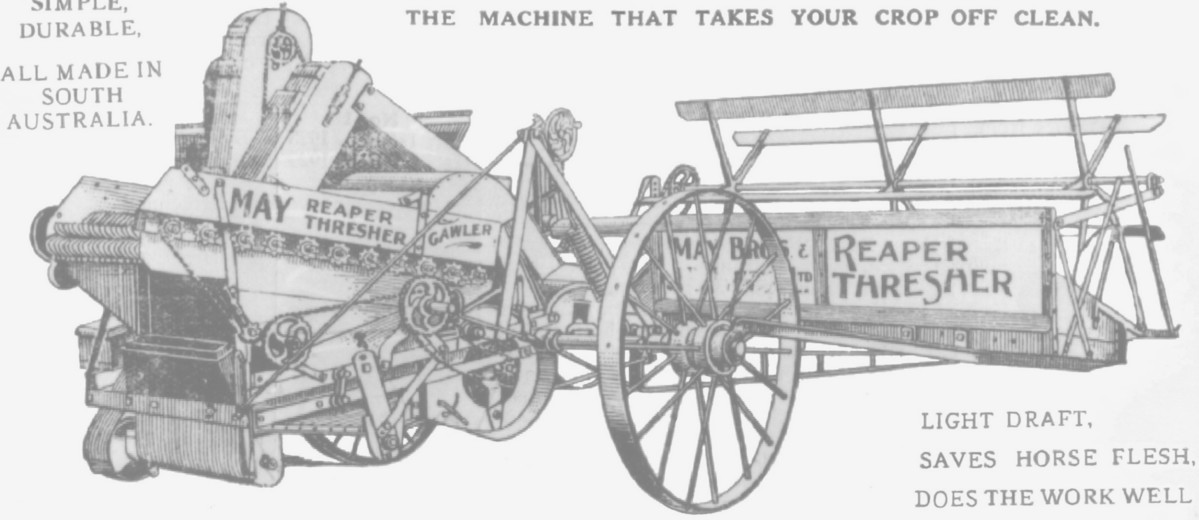 Image: A hand-drawn and printed lithograph of a nineteenth-century horse-drawn harvesting apparatus