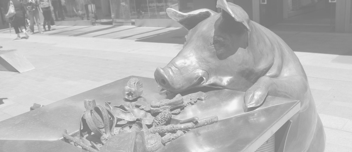 Oliver, bronze pig from A Day Out by Marguerite Derricourt, Rundle Mall, Adelaide