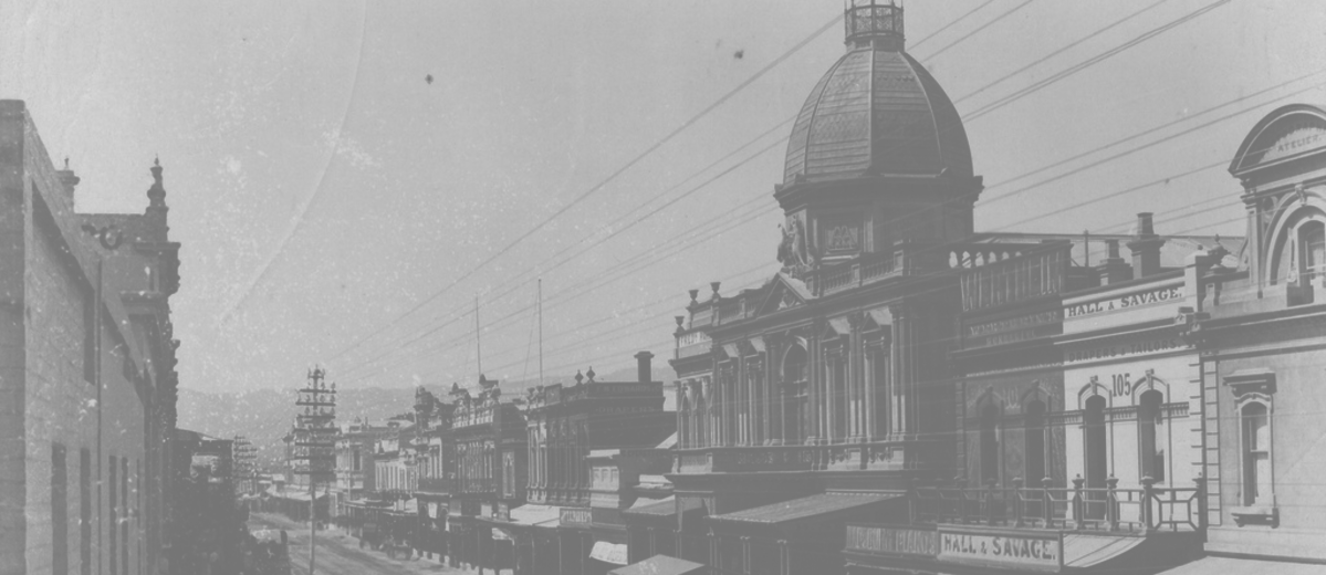Image: street with domed shopping arcade
