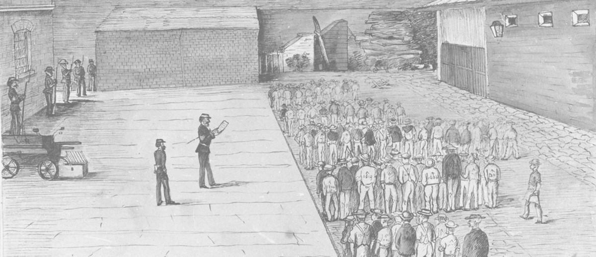 Image: A sketch of a large yard surrounded by a high stone wall, some armed men in uniforms stand looking at a large group of men standing in the yard