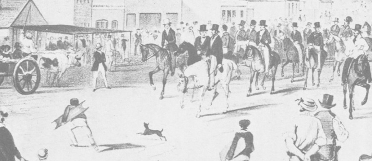Image: Drawing of a group of men on horseback riding through a crowded city street
