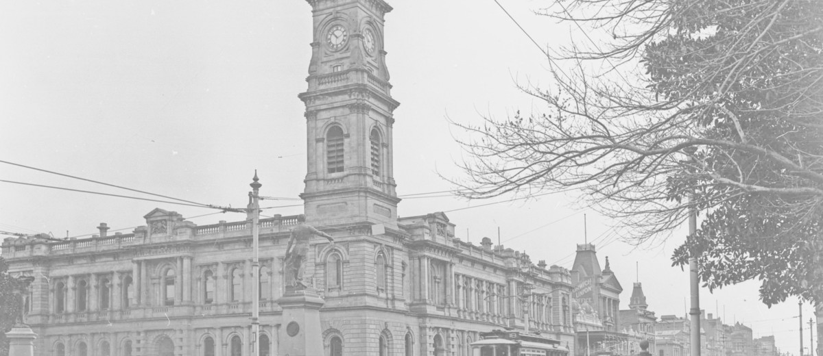 Image: Black and white photo of a clock tower and building, 27 September 1928.