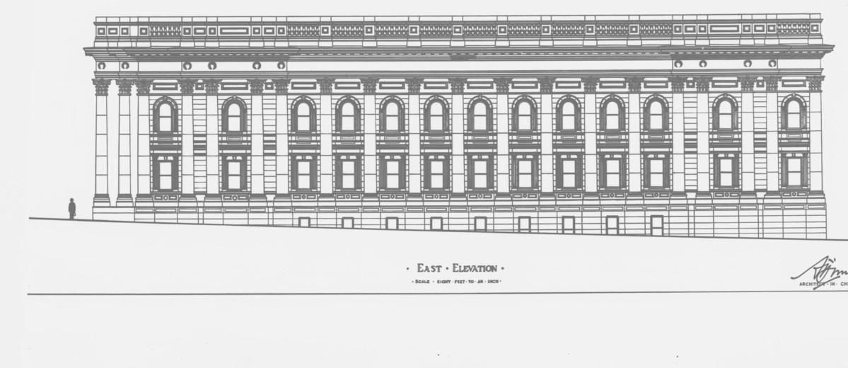 Image: An architectural illustration showing a large, rectangular building with two storeys and numerous columns in the Greek revival style