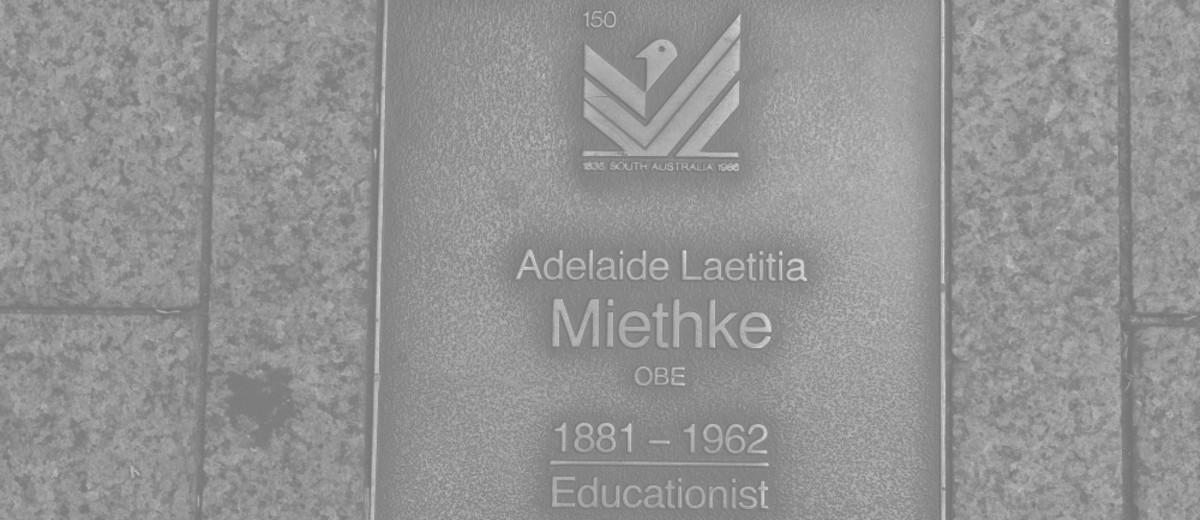 Image: Adelaide Laetitia Miethke Plaque