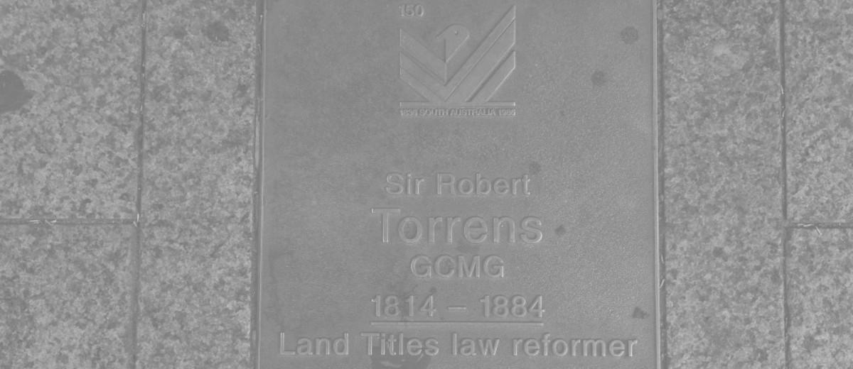 Image: Sir Robert Torrens Plaque