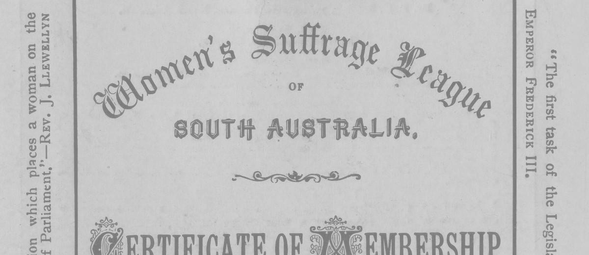 Image: Women's Suffrage League Membership Form