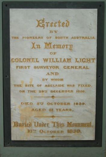 Colonel William Light Grave And Monument Adelaidia