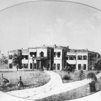 Image: Sketch of a white, two-storey building. A garden with emus is in the foreground