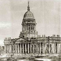 Image: a drawing of a huge building with columns along its entire facade and a massive central dome.