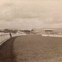 Image: A man leans against a high picket fence lining a curved racecourse. Two  grandstands can be seen in the distance.