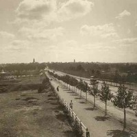 Image: a tree lined road stretches through parklands and across a river. Pedestrians in late 19th century clothes walk down a wide footpath while a horse drawn bus can be seen on the road. In the park to the left of the photo there is a small rotunda.