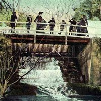 Image: a group of people standing on a bridge in a park