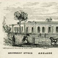 image: a drawing of a single storey building with arched windows behind a picket fence. On the street in front of the building is a coach and four, a group of children, a couple with a parasol, a boy with an armful of packages and an Aboriginal man.