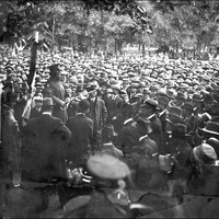 Image: An army officer addresses a large crowd