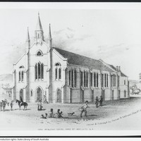 Image: pencil drawing of church with tall steeple