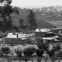 Image: A man stands in a paddock overlooking a row of houses arranged along a dirt road. Agricultural fields and scattered trees are visible in the distance