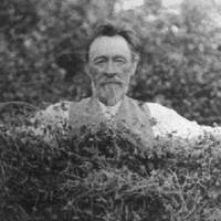 Image: A bearded middle-aged man wearing a waistcoat and trousers holds a clump of creeping vine between his two outstretched arms