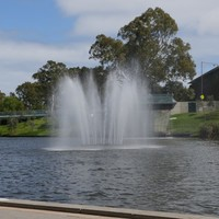 Image: Water fountain in the middle of river
