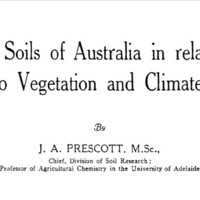 Image: Part of the cover page of a book entitled 'The soils of Australia in relation to vegetation and climate', written by J.A. Prescott, M.Sc.