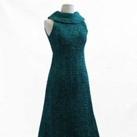 Image: peacock blue sparkling evening dress, sleeveless with long skirt