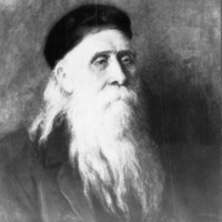 Image: A painted head-and-shoulders portrait of an elderly Caucasian man with a long white beard and equally long hair. He is wearing what appear to be ecclesiastical vestments and a hat