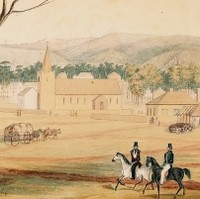 Image: Painting showing two men on horseback in a paddock. A squat stone church with high steeple is visible in the background