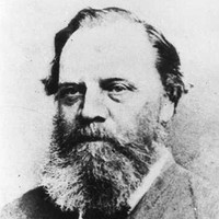 Image: A photographic head-and-shoulders portrait of a middle-aged Caucasian man with a bushy salt-and-pepper beard and receding ear-length hair. He is wearing a late-Victorian suit with bowtie