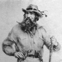 Image: Illustration of a bearded man leaning on a rifle and armed with two pistols attached to his belt, c.1855