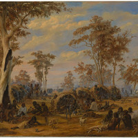'Adelaide, a tribe of natives on the banks of the river Torrens' 1850