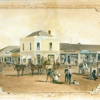 Image: Watercolour image of a corner store with pedestrians