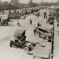 Image: Crowded street with 1920s cars