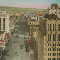 Image: Colour image of a central city street