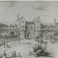 Image: a pen and ink drawing of a large three storey building with a number of wings, bay windows and an arched doorway. Several people, including children can be seen on the lawn in front of the building