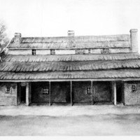 Image: A sketch of the first Supreme Court in South Australia