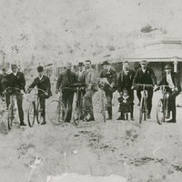 Image: group of male cyclists on bicycles at Mount Gambier