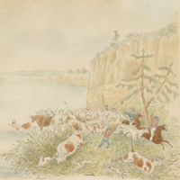 Image: A 1939 painting of men with dogs and horses crossing cattle over a major river.