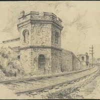 Image: a drawing of a railway track curving around a two storey, crenellated, octagonal stone tower with bars on its arched windows