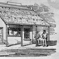 Image: A sketch of a simple rectangular wooden building with steep-roofed verandah. Two men are speaking to each other just outside the building