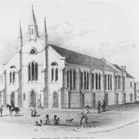Image: a black and white sketch of a church with three spires. In front of the church are various figures including men on horseback, a woman with a basket and a small family sitting playing with their two dogs.