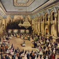 Image: A large group of people in Victorian-era attire dance in a vast open hall