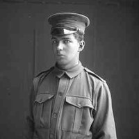 Image: A photographic portrait of a young man in a First World War-era Australian Army military uniform