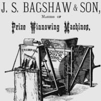 Image: A printed advertisement for a machine with the words 'Bagshaw & Son, Champion' printed on it